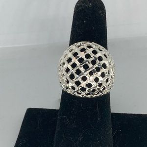 Italy Sterling Silver Weave Dome Ring Sz 7